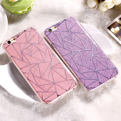 Soft TPU Bumper Case Diamonds Pattern Glitter Hard Cover For iPhone 8 7 6s Skin