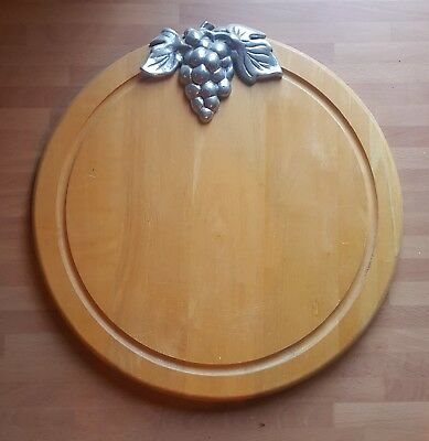 Gorgeous Wood Bread Board with Grape Vine Metal Decoration *EXCELLENT CONDITION*