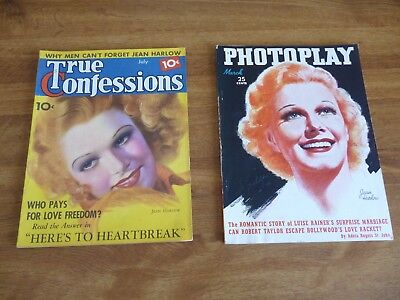 Jean Harlow - lot of 2 magazines Photoplay March 1937 & True Confessions 7/1936