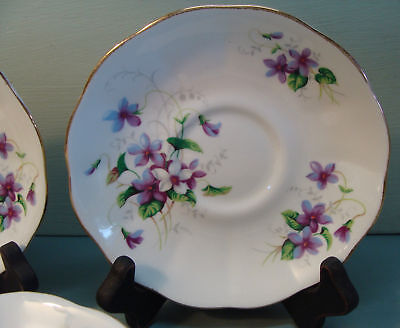 7 Roslyn China Fine Bone England RLY37 Saucers Purple White Violets Scalloped