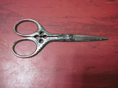 "Vtg Antique Morley Germany Ornate Handle Scissors Sewing Old 3 5/8"" Tiny Small"