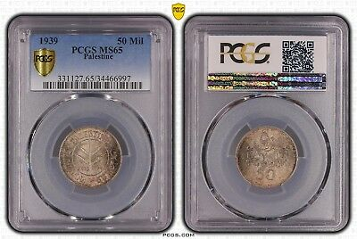 Palestine –  Silver 50 Mils Unc Coin 1939 Year Km#6 Pcgs Grading Ms65!!!