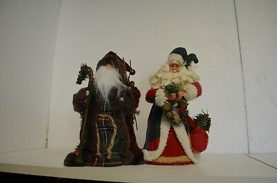 2 Santa Claus tree toppers/standing detailed clothed w robes, hair & accessories