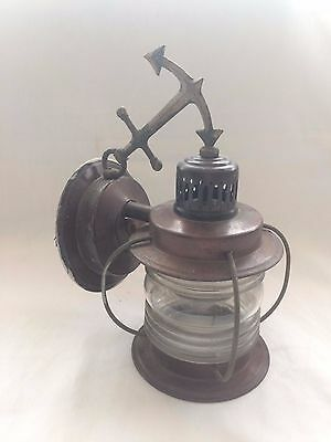 Vintage Copper Nautical Anchor Hanging Wall / Porch Jelly Jar Light Lamp