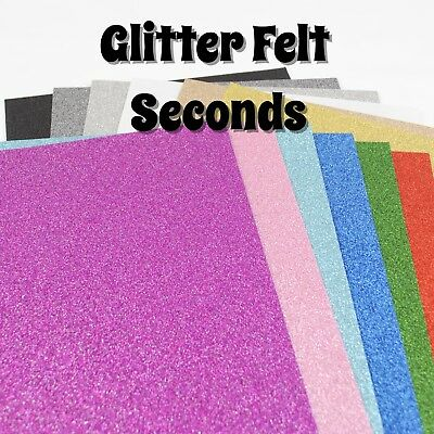 2 SHEETS OF GLITTER FELT - SECONDS - IMPERFECT - 23cm x 30cm sheets, 1mm thick