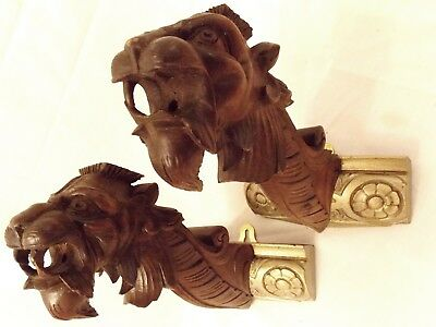 Pair Of Dragon Wall Fittings Shabby Chic Look