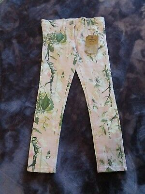 girls aged 6 pink floral mix skinny jeans NEXT BNWT