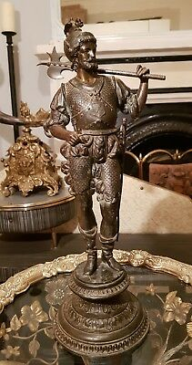 Early 20th Century Antique Bronzed Spelter Conquistador Knight by LSF France