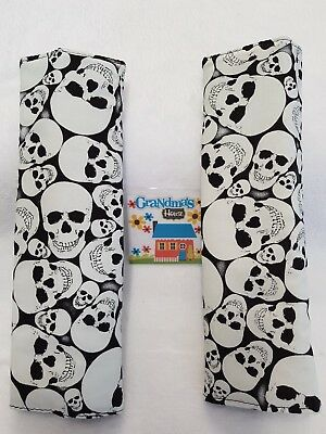 Seat Belt Covers For Standard Seat Belt - SET OF TWO- Glow in the Dark Skulls