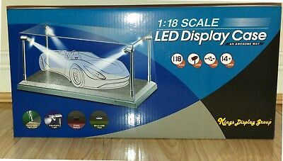 Display Case with LED Lights Silver Base for 1:18 Model Cars Kings Display Group