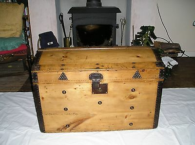 Victorian Pine Blanket Box With Domed Top