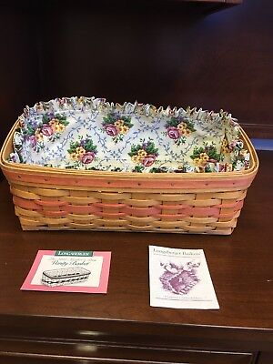 LONGABERGER Mothers Day 1996 Vanity Basket Combo With Liner And Protector