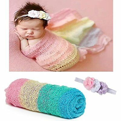 Newborn Baby Photography Props - Long Ripple Wrap Blanket and Lace Beads Head...