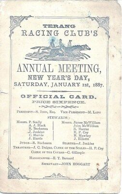 TERANG CUP 1887 RACE CARD - Historically Rare
