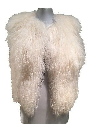 New, Badgley And Mischka White Fluffy Real Shearling Vest, $995