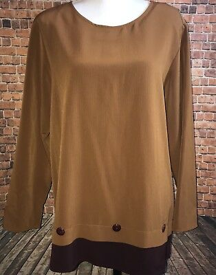 VTG Maggie Sweet Womens 2PC Outfitt Long Sleeve and Dress Pant Set BROWN 2-Tone