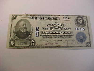 1902 Large National Currency Banknote Charter 2395  Bennington Vt $5 Great Note