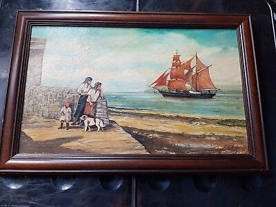 Rare Peter Smith Oil Painting On Canvas 'Farewell' Ex Doulton/Minton Painter
