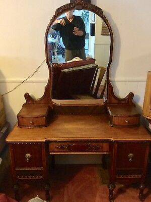 Beautiful Vintage Vanity with Matching Mirror Art Deco Top Is 100% Natural