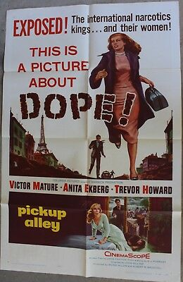 "PICKUP ALLEY-'This is a picture about DOPE!""-with Anita Ekberg & Victor Mature!"