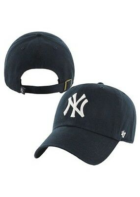 New York Yankees NY 47 Brand MLB Strapback Adjustable Dad Cap Hat Navy  Clean Up 375e802730f