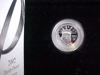 2002 W 1/10 Oz Platinum American Eagle Proof - With Box & COA