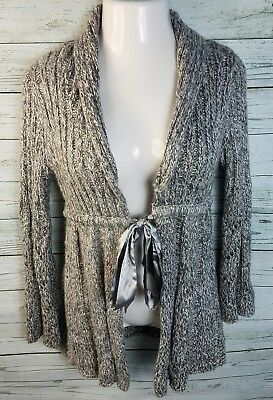 New Motherhood Maternity Gray Cardigan Sweater Ties In Front Knit Size Large