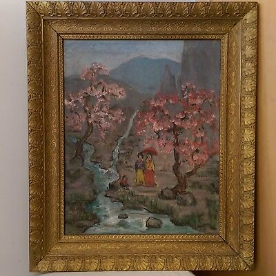 Antique Old Signed Chinese Asian Garden With Figures Oil Painting