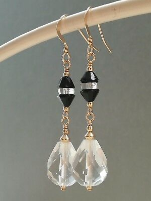 Vintage Deco Faceted Clear Glass & Black Cone Glass 14ct Rolled Gold Earrings