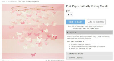 Pottery Barn Kids Butterfly (Multi-color) Ceiling Mobile - New in box!