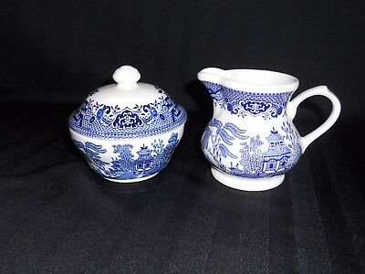 China Cream And Sugar Set - Churchill England - Blue Willow Pattern - Vintage??
