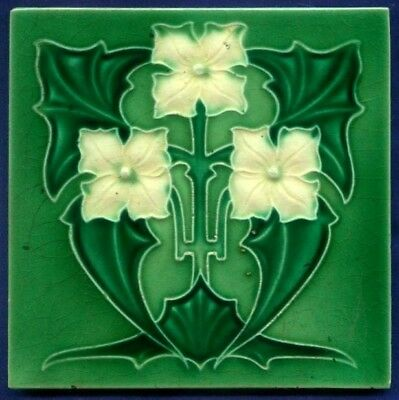 Jugendstil Fliese Relief, Art Nouveau Tile, Rhodes, Blume weiß / white Flower