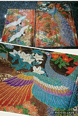 2 Heavily Embroidered Vintage Kimono Panels PERFECT Condition STORKS & PEACOCK