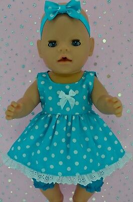 """Play n Wear Doll Clothes To Fit 17"""" Baby Born POLKA DOT DRESS~BLOOMERS~HEADBAND"""