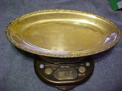"Vintage Alvin S126 sterling silver oval bread tray plate 221 grams 11 1/4"" long"