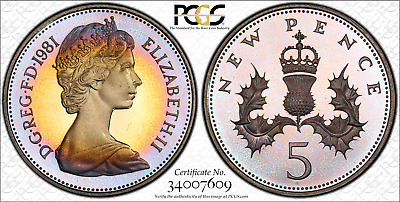 1981 Great Britain 5 new pence - PCGS PR67 DCAM - beautiful speckled sunset tone