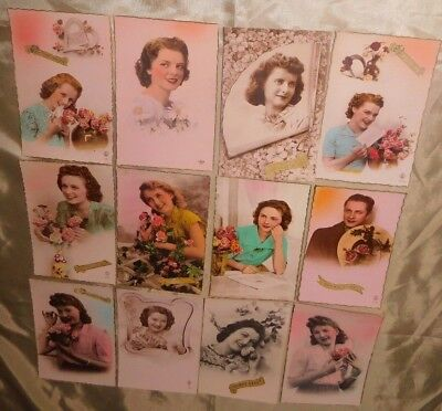 Estate 12 x French 1940s Lady Roses Illustrated Photo Greeting Postcards