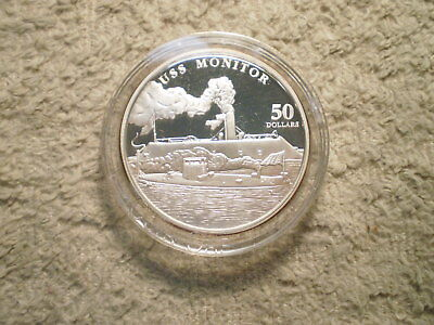 1998 $50 Marshall Islands Uss Monitor/ 999 Silver 1.00 Asw/ No Box