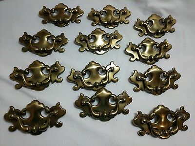Lot of 12 Vintage Brass Drawer Pulls Batwing Style