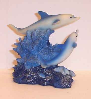 Dolphin Figurine /  Blue and White Dolphines /  Free Shipping