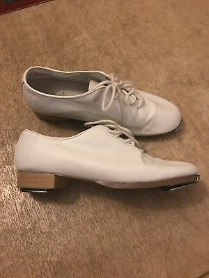 Dance Class Women's Size 9 White Tap Shoes With Stevens Stompers Installed