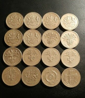 Great Britain, Lot Of 16, 1 Pound Coins.