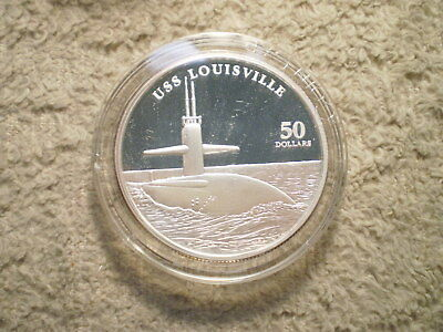 1998 $50 Marshall Islands Uss Louisville/ 999 Silver 1.00 Asw/ No Box