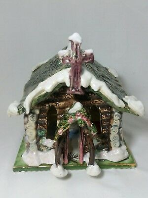 Heather Goldminc Blue Sky Log Cabin Church Candle House 2002 Ceramic Christmas