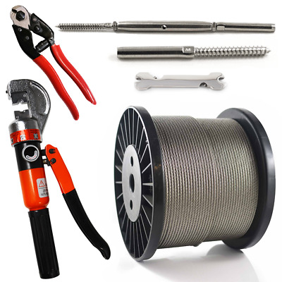 Lag/Swage Wire Balustrade Kit 7x7 3.2mm Stainless 316 Rope Swaging Tool Cutters