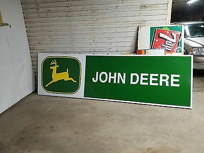 Vintage 1970s John Deere 3' x 10' Embossed Metal Sign Farm Tractor 4020 4430