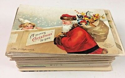 Nice Huge Antique Lot of 93 Vintage Christmas Holiday Postcards & Greetings