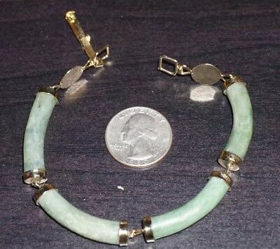"Vintage Antique Chinese Jade Gold Bracelet 7 1/2"" BEAUTIFUL  A9"