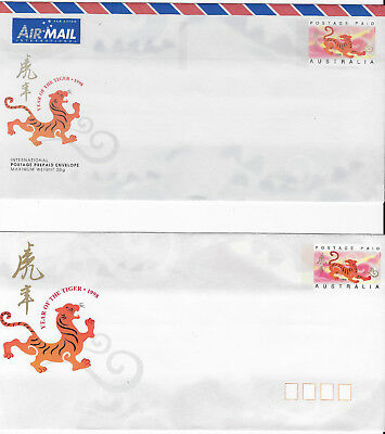1998 YEAR OF THE TIGER Australia Chinese New Year 2X prepaid stationary covers
