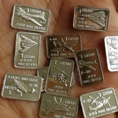 16 x 1g Different Types of Aircraft  .999 Fine Silver Round Bar Bullion WPZ715